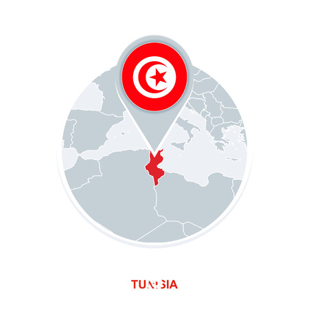 Tunisia map and flag, vector map icon with highlighted Tunisia Stock Illustratie