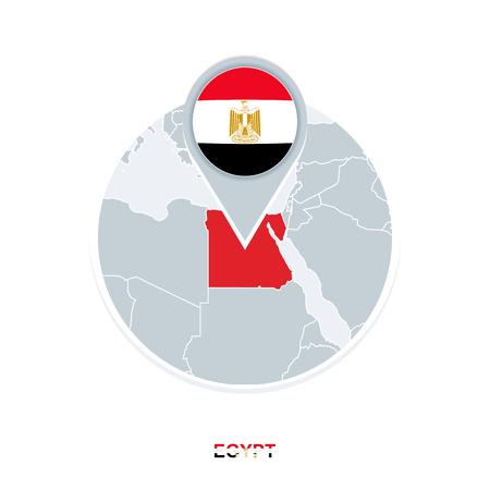 Carte et drapeau de l'Égypte, icône de carte vectorielle avec l'Égypte en surbrillance