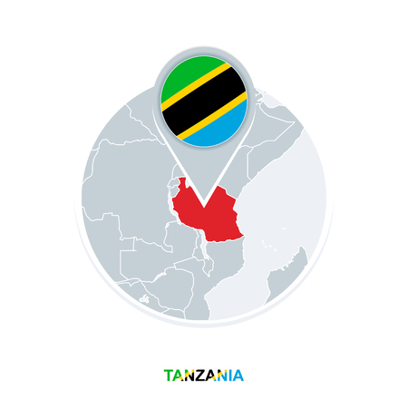 Tanzania map and flag, vector map icon with highlighted Tanzania