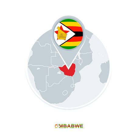Zimbabwe map and flag, vector map icon with highlighted Zimbabwe