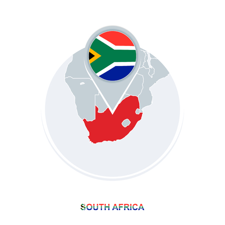 South Africa map and flag, vector map icon with highlighted South Africa Illustration