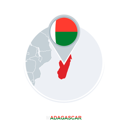 Madagascar map and flag, vector map icon with highlighted Madagascar