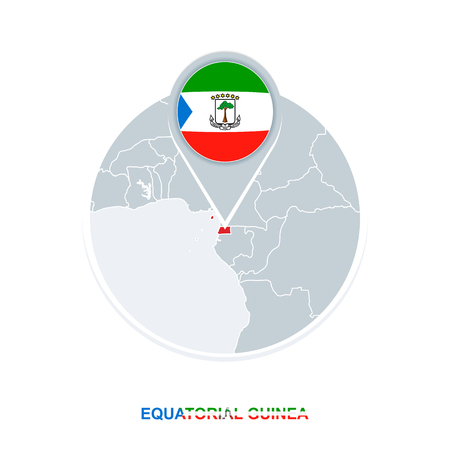 Equatorial Guinea map and flag, vector map icon with highlighted Equatorial Guinea