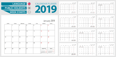 Wall calendar planner for 2019. English language, week starts from Monday. Vector template. Иллюстрация