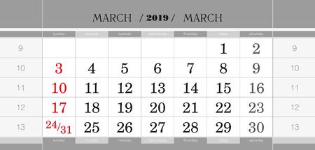Bloc de calendrier trimestriel de mars 2019. Calendrier mural en anglais, la semaine commence à partir du dimanche. Illustration vectorielle. Vecteurs