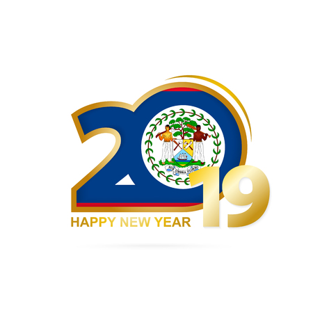 Year 2019 with Belize Flag pattern. Happy New Year Design. Vector Illustration.