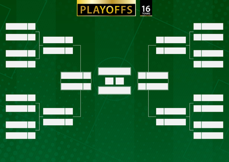 Soporte de torneo para 16 equipos sobre fondo verde de fútbol