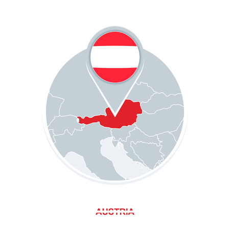 Austria map and flag, vector map icon with highlighted Austria