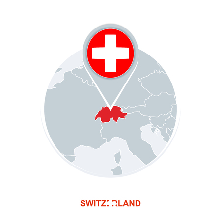 Switzerland map and flag, vector map icon with highlighted Switzerland