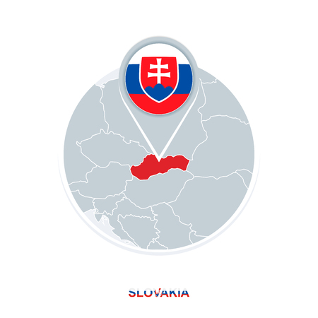 Slovakia map and flag, vector map icon with highlighted Slovakia Illustration
