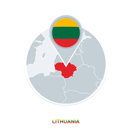 Lithuania map and flag, vector map icon with highlighted Lithuania Векторная Иллюстрация