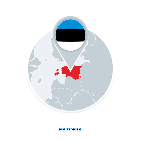 Estonia map and flag, vector map icon with highlighted Estonia