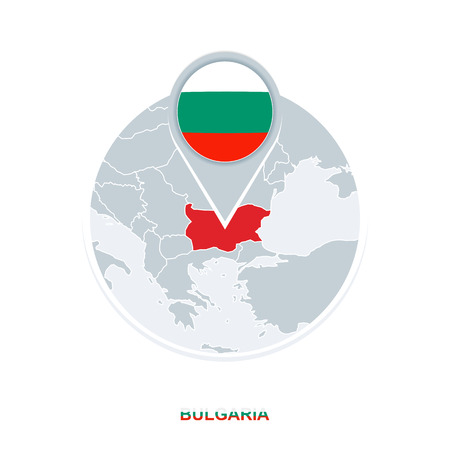 Bulgaria map and flag, vector map icon with highlighted Bulgaria