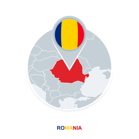 Romania map and flag, vector map icon with highlighted Romania