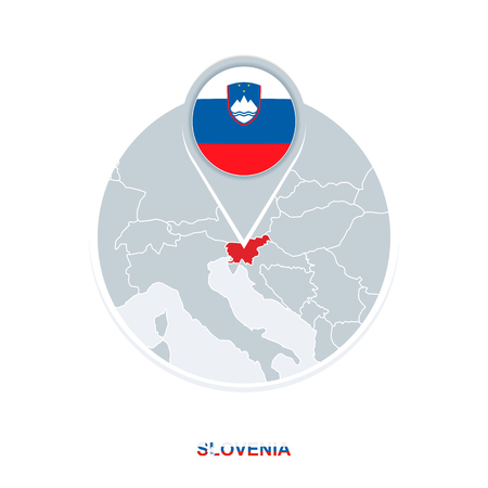 Slovenia map and flag, vector map icon with highlighted Slovenia Illustration