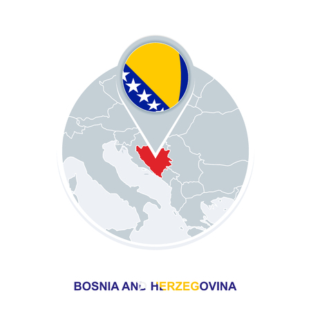 Bosnia and Herzegovina map and flag, vector map icon with highlighted Bosnia