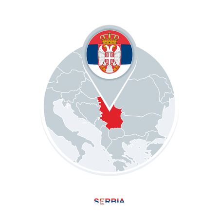 Serbia map and flag, vector map icon with highlighted Serbia
