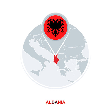 Albania map and flag, vector map icon with highlighted Albania 向量圖像