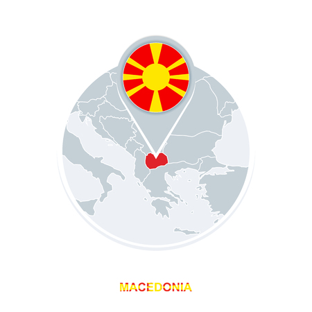 Macedonia map and flag, vector map icon with highlighted Macedonia