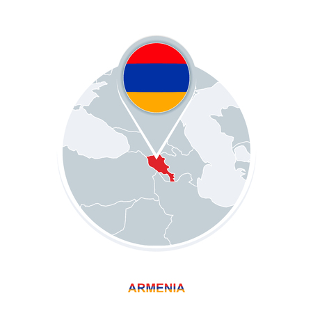 Armenia map and flag, vector map icon with highlighted Armenia Illustration