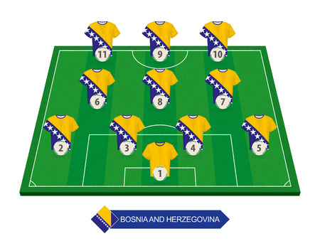 Bosnia and Herzegovina football team lineup on soccer field for European football competition Ilustrace