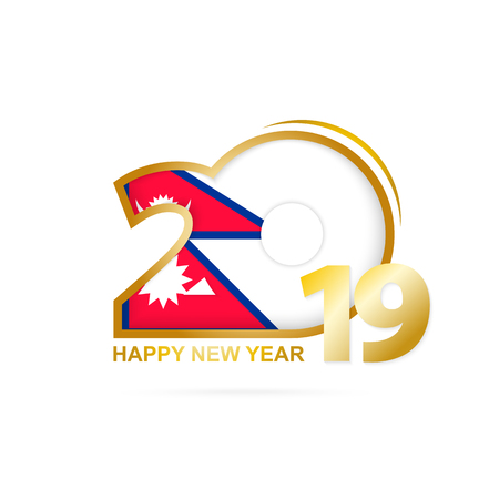 Year 2019 with Nepal Flag pattern. Happy New Year Design. Vector Illustration. Ilustração