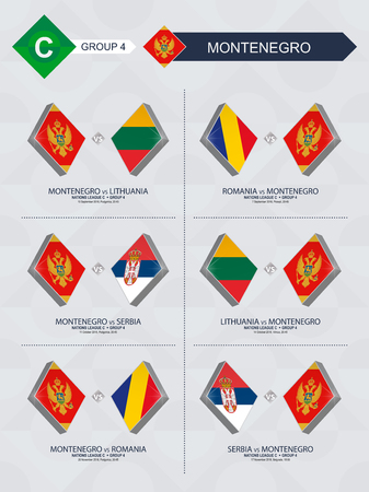 All games of Montenegro in football nations league. Stock Illustratie