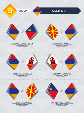 All games of Armenia in football nations league. Stock Illustratie