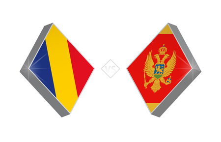 Europe football competition Romania vs Montenegro. Vector illustration.