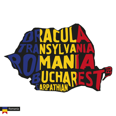 Typography map silhouette of Romania in black and flag colors. Vector Illustration.