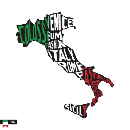 Typography map silhouette of Italy in black and flag colors. Vector Illustration. Ilustrace