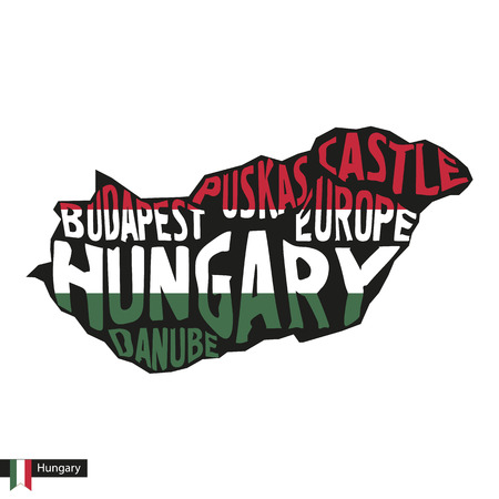 Typography map silhouette of Hungary in black and flag colors. Vector Illustration. Иллюстрация