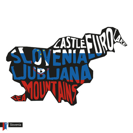 Typography map silhouette of Slovenia in black and flag colors. Vector Illustration. Illustration