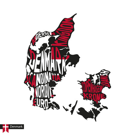 Typography map silhouette of Denmark in black and flag colors. Vector Illustration.