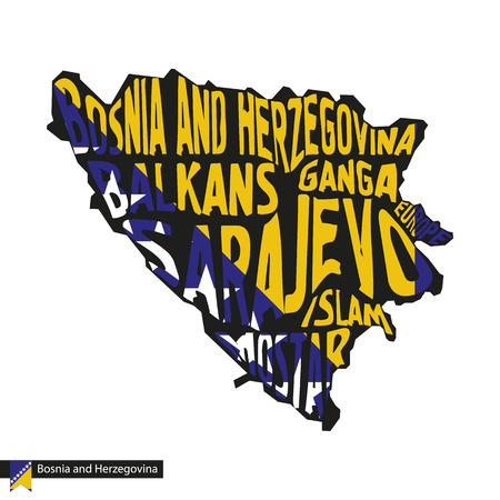 Typography map silhouette of Bosnia and Herzegovina in black and flag colors. Vector Illustration.