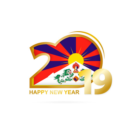 Year 2019 with Tibet Flag pattern. Happy New Year Design. Vector Illustration. 일러스트