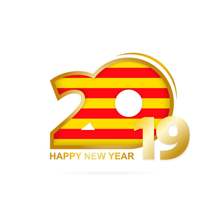 Year 2019 with Catalonia Flag pattern. Happy New Year Design. Vector Illustration.