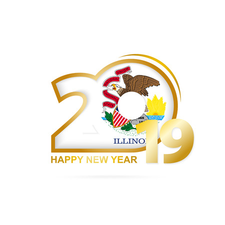 Year 2019 with Illinois Flag pattern. Happy New Year Design. Vector Illustration.