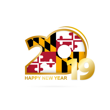 Year 2019 with Maryland Flag pattern. Happy New Year Design. Vector Illustration.