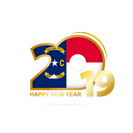 Year 2019 with North Carolina Flag pattern. Happy New Year Design. Vector Illustration.
