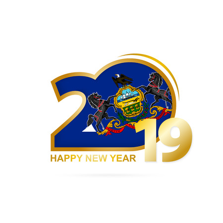 Year 2019 with Pennsylvania Flag pattern. Happy New Year Design. Vector Illustration.