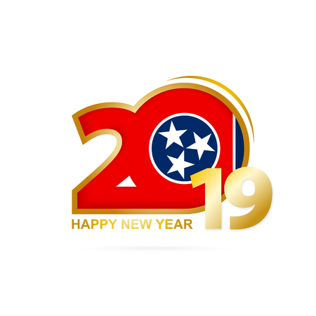 Year 2019 with Tennessee Flag pattern. Happy New Year Design. Vector Illustration.