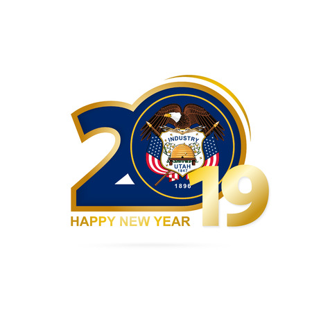 Year 2019 with Utah Flag pattern. Happy New Year Design. Vector Illustration.