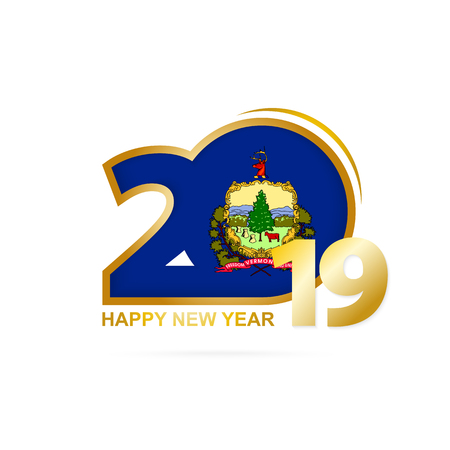 Year 2019 with Vermont Flag pattern. Happy New Year Design. Vector Illustration.