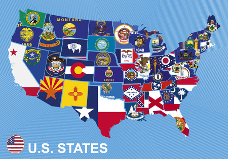 US map with flags of states, on blue background