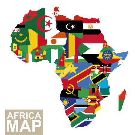 Africa map. Vector map of Africa with flags. African countries flag. Vector Illustration.  イラスト・ベクター素材