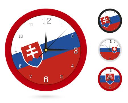 Projekt zegara ściennego z flagą narodową Słowacji. Cztery różne projekty. Gotowy do druku. Ilustracja wektorowa.