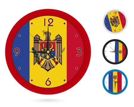 Wall Clock Design with National Flag of Moldova. Four different design. Ready for print. Vector Illustration.