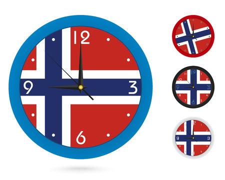 Wall Clock Design with National Flag of Norway. Four different design. Ready for print. Vector Illustration.