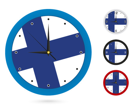 Wall Clock Design with National Flag of Finland. Four different design. Ready for print. Vector Illustration.